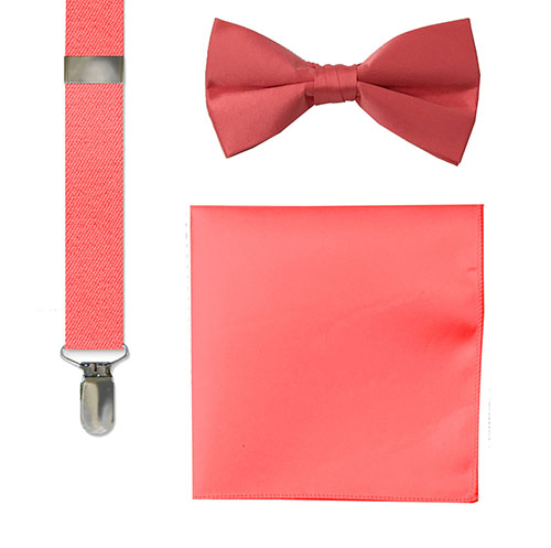 fashion socks, bow tie, suspenders and hankie sets coral