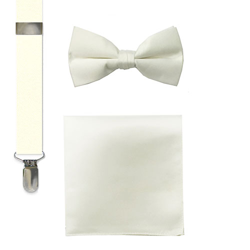 fashion socks, bow tie, suspenders and hankie sets cream