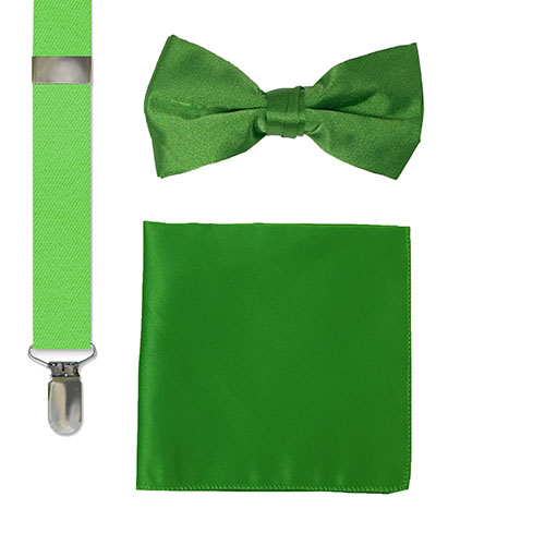 bow tie, suspenders and hankie sets in green for men