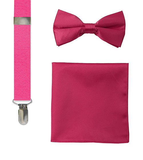 men's hot pink bow tie, suspenders and hankie sets