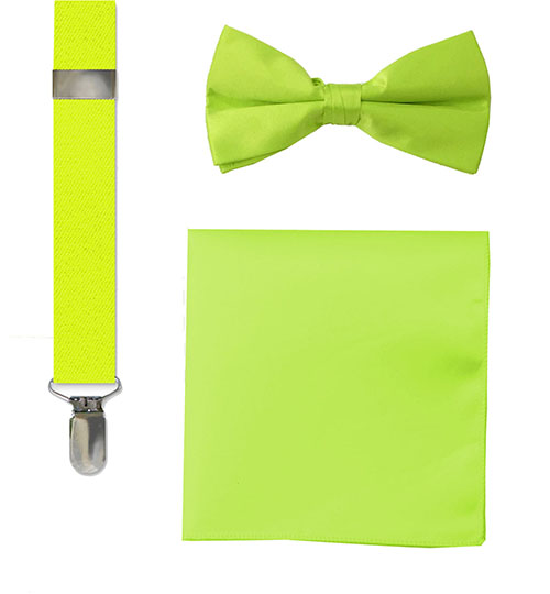 fashion bow tie, suspenders and hankie sets lime green